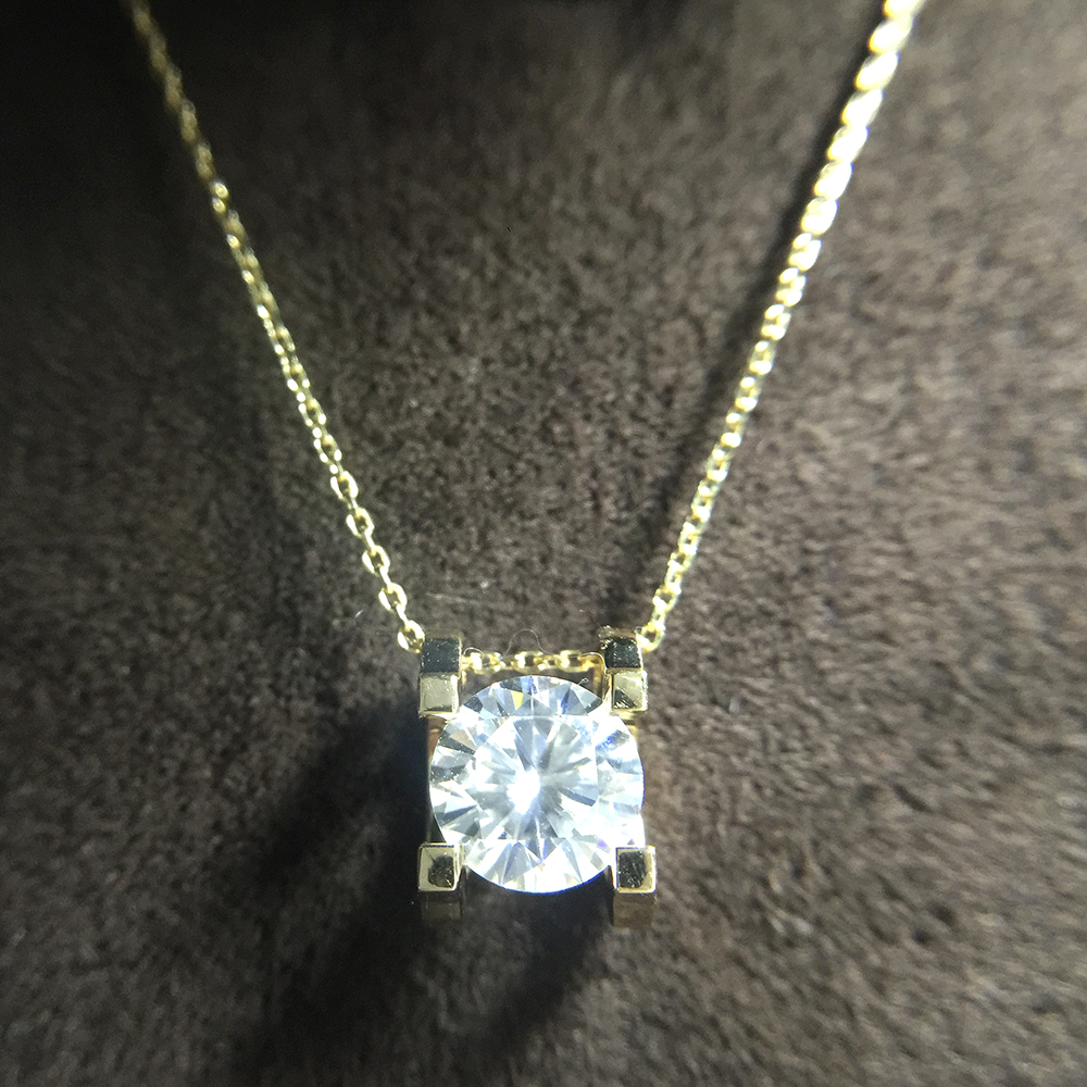 1 0ct 6 5mm VVS1 DEF Round Cut 14K Yellow White Gold Moissanite Pendant With 14K