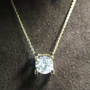 1.0ct 6,5mm VVS1 DEF круглая огранка 14K желтое Белое золото Moissanite подвеска с 14K золотая цепочка ожерелье для женщин в ювелирных изделиях
