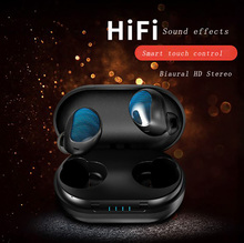 Smart Biaural Bluetooth 5.0 music earphone Bass Stereo Denoise Waterproof Touch control Headset Siri Voice with Charging Box