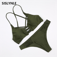 SISLYNLE 2017 New Sexy Bikini Set Brazilian Push Up Swimsuits Women Swimwear Bikinis Halter Biquinis Bathing