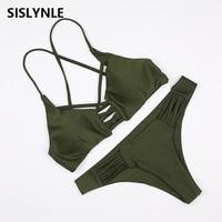 SISLYNLE 2017 New Sexy Bikini Set Brazilian Push Up Swimsuits Women Swimwear Bikinis Halter Biquinis Bathing