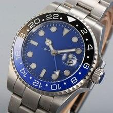 43 мм блигер синий циферблат GMT сапфировое стекло SS Группа Дата Окно Керамическая рамка светящиеся знаки автоматические механические мужские часы