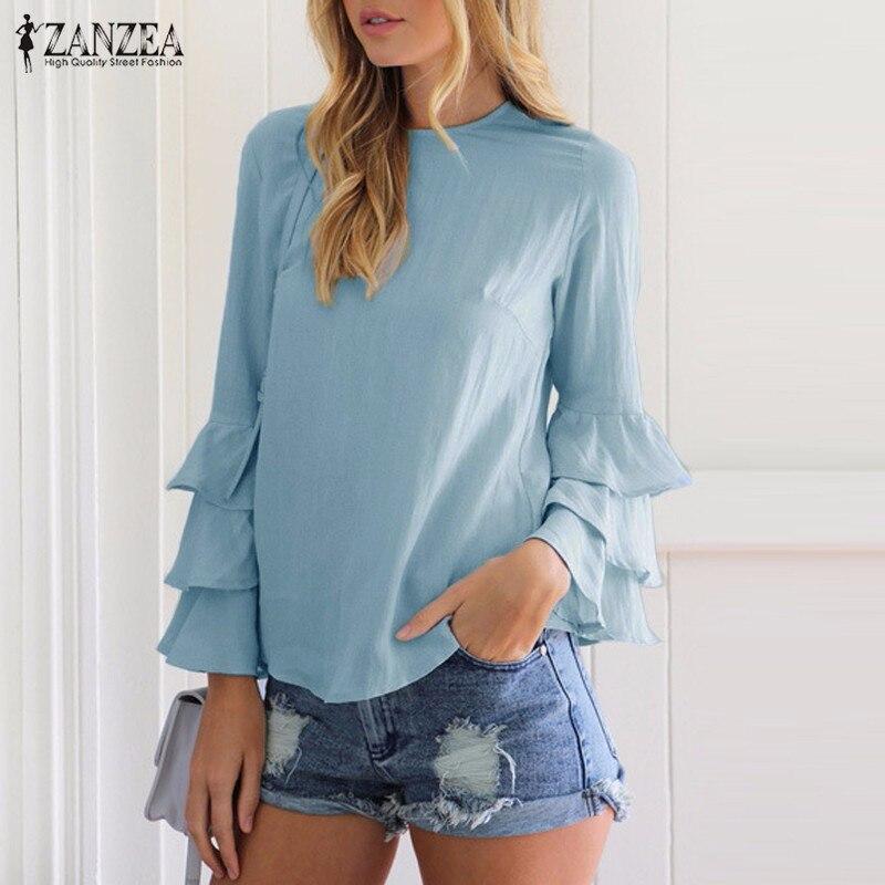 Zanzea kobiety bluzki koszule 2017 jesień eleganckie panie o-neck falbanką długim rękawem stałe blusas casual loose tops 9