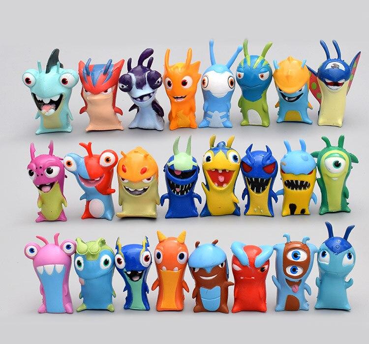 24 Pcs/set new anime Slugterra action figure toys 5cm monster animal model mini PVC dolls decoration gift