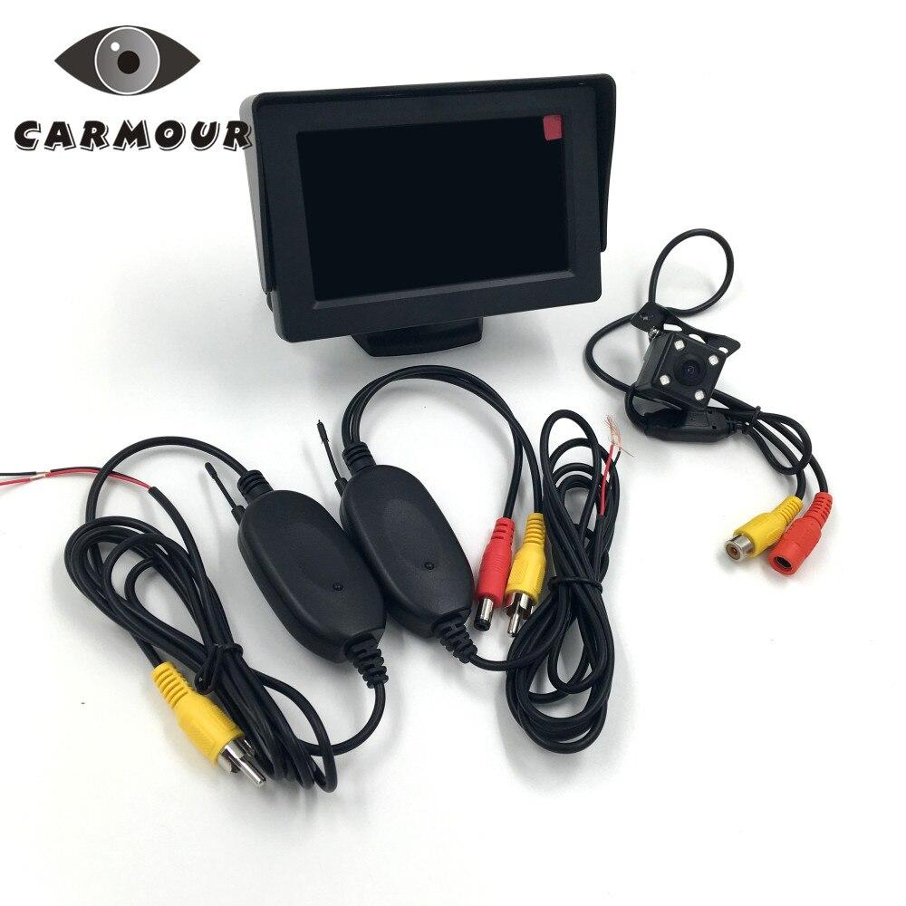3 в 1 2.4 г Беспроводной 4 светодиодный Ночное Видение заднего автомобилей заднего вида Камера + 4.3 дюймов автомобиля ЖК-дисплей Дисплей монито...