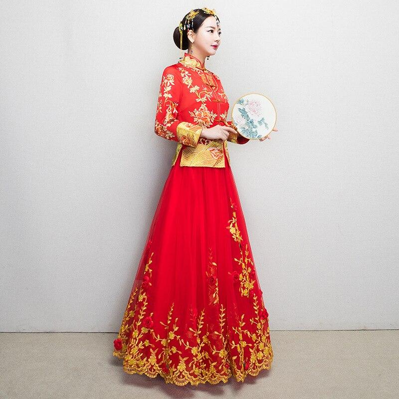 Traditional Wedding Gown New Chinese Bride Woman Cheongsam Women ...