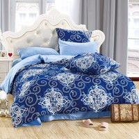 LILIYA 4 6Pieces Comfortable Bedding Set Plain Pillowcase Sheet With Elastic Simple And Elegant Duvet Cover