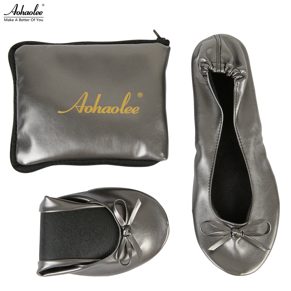 49772f84e6a Aohaolee Women Shoes Foldable Ballet Flats Portable Travel Fold Shoes After  Party Ballerina Flats Roll Up Wedding Shopping Shoes-in Women s Flats from  Shoes ...