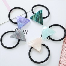 Women Acrylic Triangle Black Rubber Band Hair Ties Ponytail Holder Hairbands Elastic Hair Rope Jewelry Accessories 1 55 ponytail