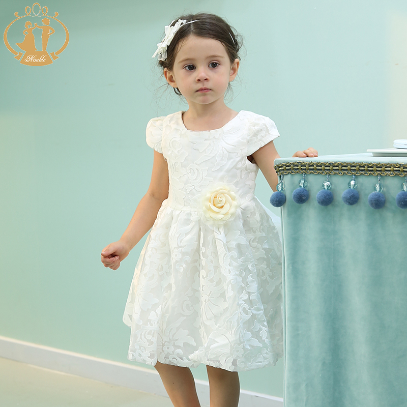 Nimble girls clothes A-Line Short Sleeve yellow Rose Big bow Embroidery Kids clothes for girls vestido infantil moana trolls