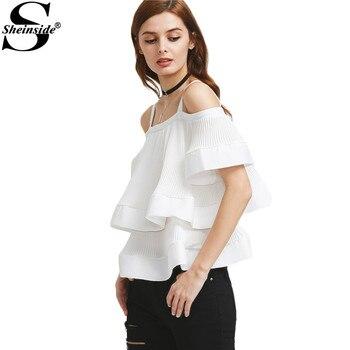 Sheinside Layered Slip Cute Blouse 2017 Women White Elegant Tie Back Cold Shoulder Summer Tops Fashion Sexy Ruffle Ladies Blouse