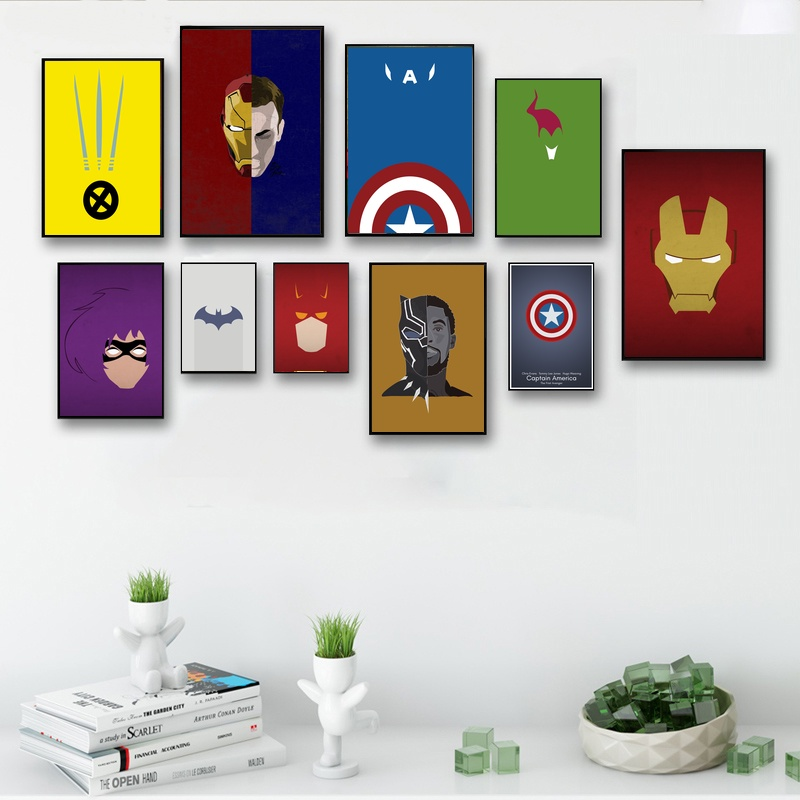Comics Marvel Avengers Super Heroes Minimalist Wall Art Paint Decor Canvas Prints Canvas Art Poster Oil Paintings No Frame