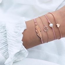 KMVEXO 4PCS/Set Gold Color Lotus Leaf Bracelet Set Pink Rope Heart Pearl Bracelets Bangles for Women Bijoux Fashion Jewelry Gift(China)