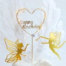 Gelukkige Verjaardag Fairy Elf Cake Topper Bloem Kant Mesh Valentijn Decoratie Voor Kinderen Kid Meisje Feestartikelen Bakken Leuke Gift
