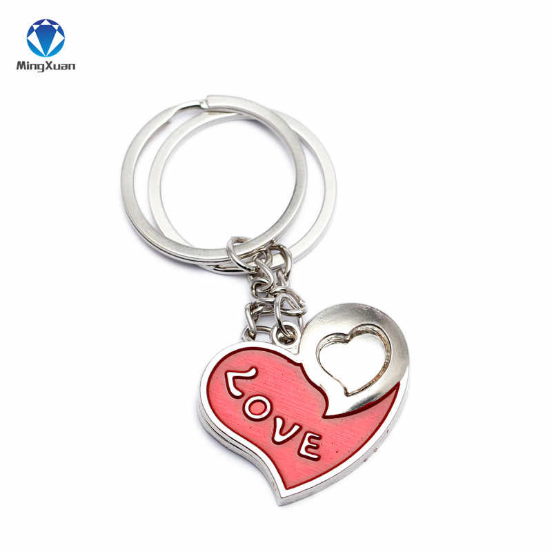 1pair Couple Keychain Double Hearts Ring Silver Plated Lovers Love Key Chain Souvenirs Valentine S Day Gift C390