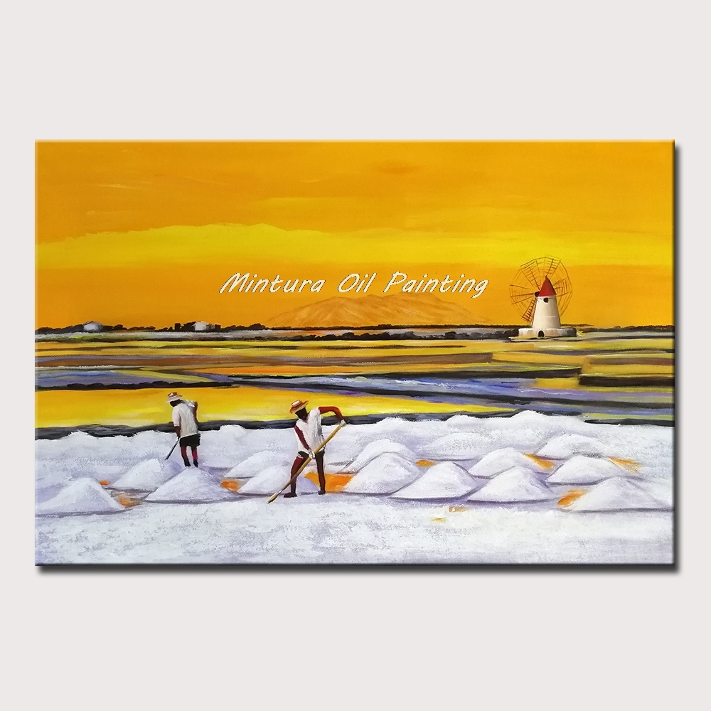 Mintura Hand Painted Oil Paintings on Canva Farmer and Field Beautiful Sky Wall Picture for Living