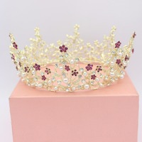 Luxurious Round Large Crystal Gold Silver Color Bridal Tiara Crowns Bride Wedding Hair Jewelry Accessories Women