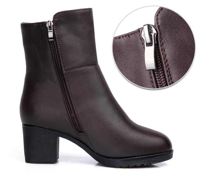 2017 Espesar La Botas De Nieve Algodón Cargador Cuero brown Mujer Las Mujeres Invierno Genuino Zapatos Caliente Black Lana Madre Cálidas Bota PPqYw6r