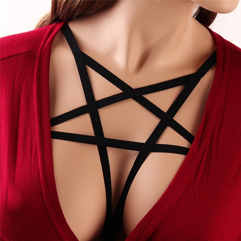 2019 Goth Lingerie Sexy Lace Up Bra Elastic Body Belt Bra Straps Cupless Women Female Crop Tops Chest Bandage Lingerie Underwear