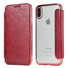 YISAHNGOU Luxury Flip Book Leather Card Stand Plating TPU Silicone Clear Back Cover For iPhone XR XS MAX X 10 8 7 5 5S 6 6S Plus(China)