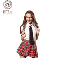 Leechee Q880 לטקס קוספליי אחיד תלמיד נשים הלבשה תחתונה סקסי חם ארוטי פורנו תחפושות סקסית פרספקטיבת חצאית משובצת חליפה חנות