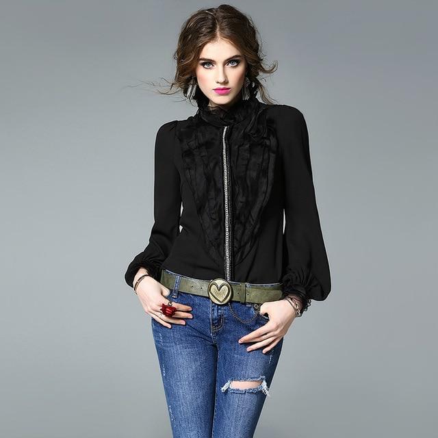 38792cf1b6f6d7 Fashion Elegant White Black Silk Blouse Women High Quality Brand Office  Lady Wear Business Long Sleeve Ruffles Blouses Shirts