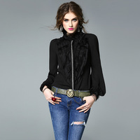 Fashion Elegant White Black Silk Blouse Women High Quality Brand Office Lady Wear Business Long Sleeve