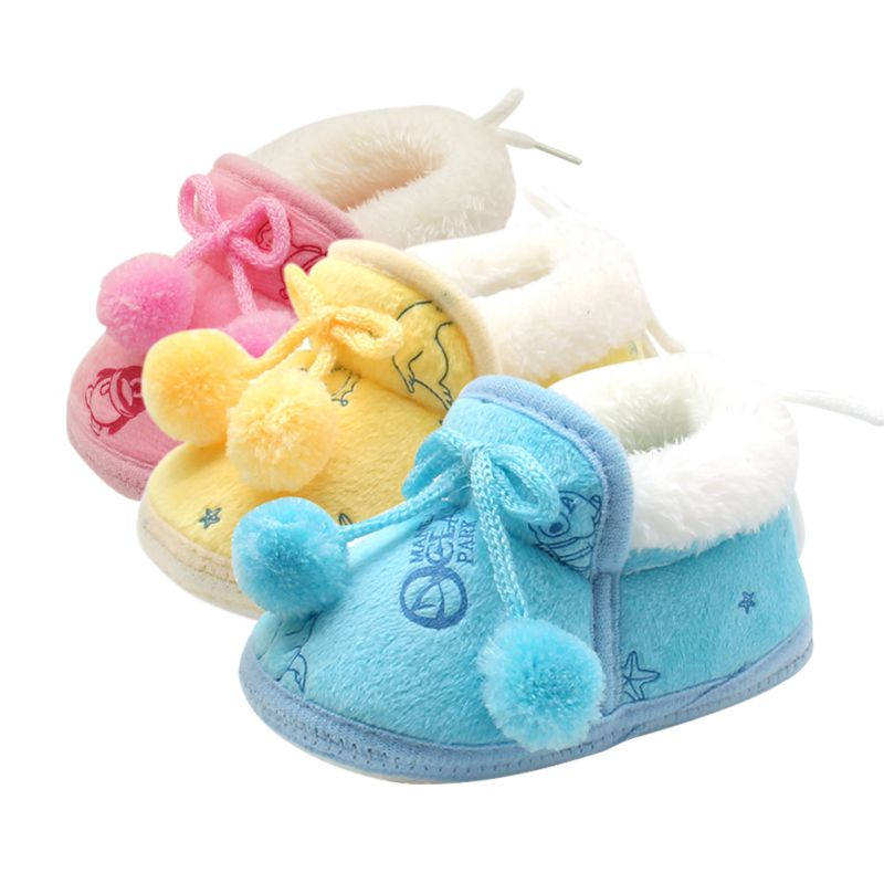 Winter Newborn Infant Bebe Toddler Girls Warm New Bow Snow Shoes Baby Walker Crib Boots For Newborns