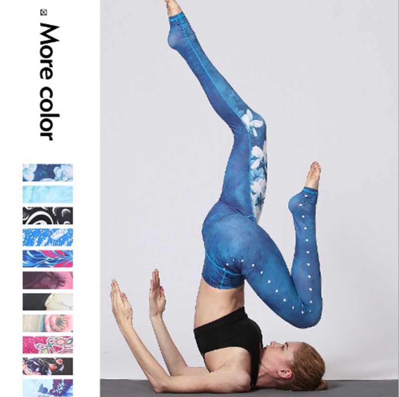 Witkey Printed  Pants Women High Waist Sport Leggings Fitness Compression Running