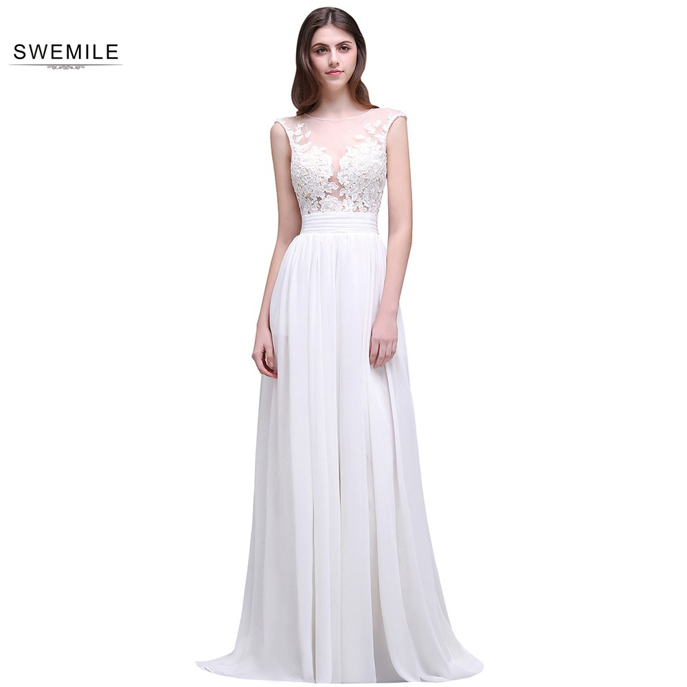 Cheap Appliques Lace Chiffon O Neck Sheer White Beach Wedding Dresses 2016 Vestidos De Novia Para Playa Split Court Train k823 Платье