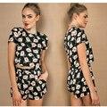 Vestuário Boho floral impressão mulheres jumpsuit romper playsuit Meninas elegante de duas peças de Verão 2016 ocasional curto sexy ovaralls