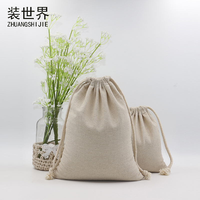 5pcs/lot  13cm*16cm Custom Logo Print  Cotton Linen Bag Pouch Drawstring Bags Jewelry Food  Bags Christmas Jewelry Pouches