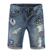 Summer Fashion Men Jeans Shorts Blue Color Superably Brand Ripped Jeans homme Patch Designer Streetwear Hip Hop Jeans Shorts Men