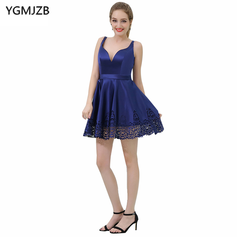 Simple Blue Backless Prom   Dresses   2018 A Line V Neck Lace Cut-out Short   Cocktail     Dress   Mini Party   Dress   Vestido De Festa Curto