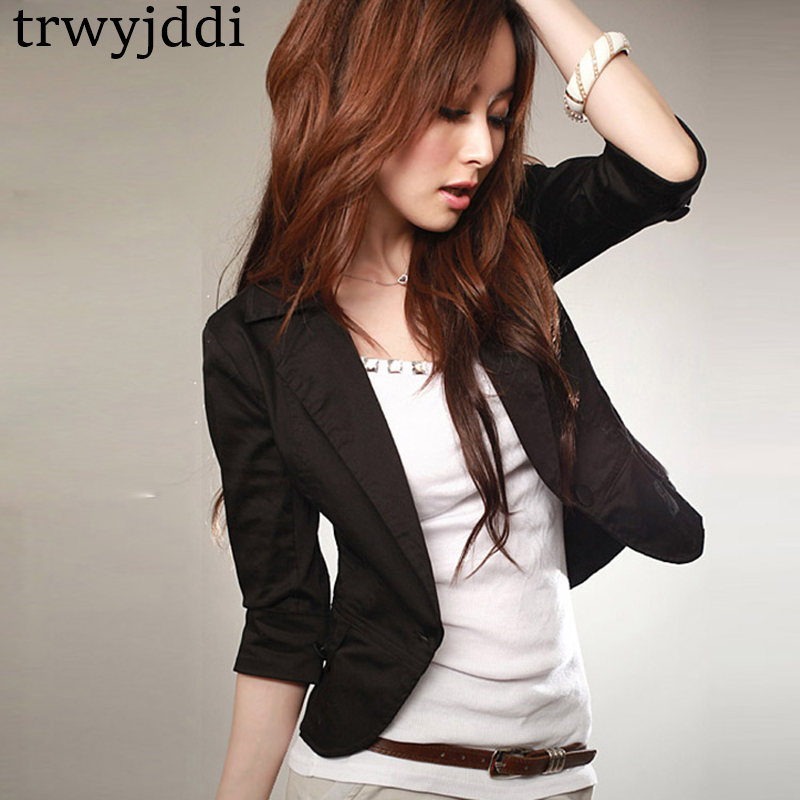 White/Black Chiifon Slim Ladies Blazers Women 2020 Summer New Cropped Sleeve Women Suit Jacket Blazer Femme Office Coats Hl394