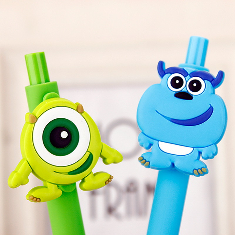 New 2pcs/set 0.5mm Funny Monsters University Gel Pen Black Pen Candy Color Cartoon Sulley & Popeyes Pens for Kid Gift Stationery