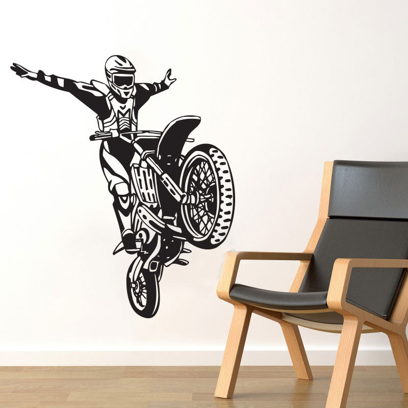 ZOOYOO Dirt Bike Motorcycle Wall Sticker Motocross Stunt