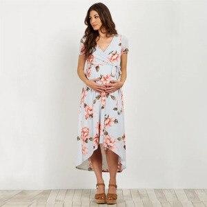 Image 4 - 2019 Estate Con Scollo A V Lungo Maternità Abiti Per Le Donne Incinte Vestiti di Stampa del Vestito Gravidanza Gravidas Abiti Maternità Abbigliamento