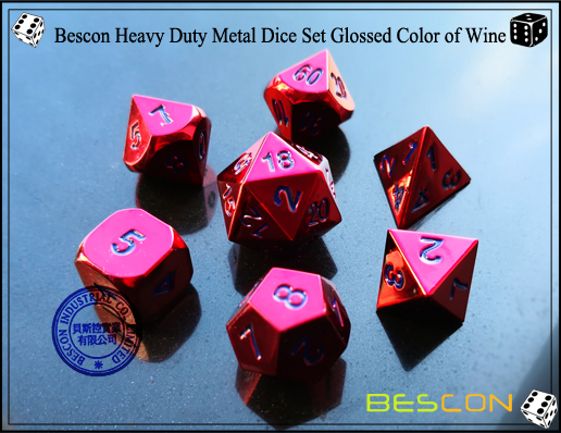 Bescon Heavy Duty Metal Dice Set Glossed Color of Wine-3