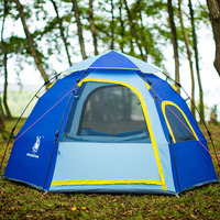 Outdoor camping hiking waterproof tent Hexagonal 3 4 person large capacity tents Automatic quick opening family tent