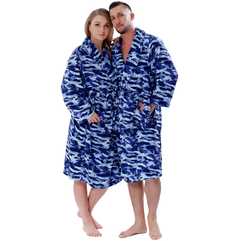 Men Women Warm Winter Coral Fleece Robe Blue Camouflage Plus Size Night Gown Sleepwear Bathrobe For Lovers 2