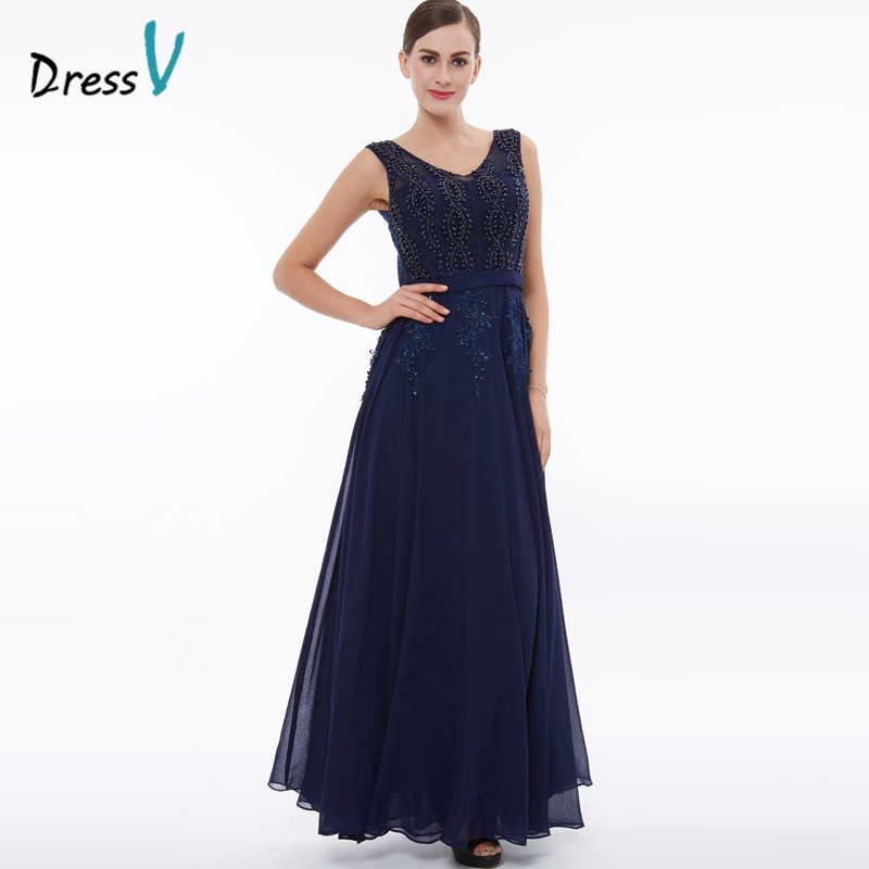dressv dark navy beading a line evening dress appliques chiffon wedding party mother of the