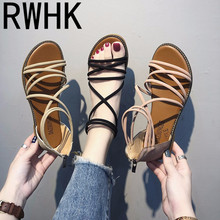 RWHK 2019 summer new foreign trade cross-border Roman wind thin band cross flat bottom high sandals womens shoes B203