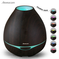 Aromacare Ultrasonic Mist Maker Wood Grain Oil Diffuser 400ml Aroma Diffuser With Colorfule Changing Light Free