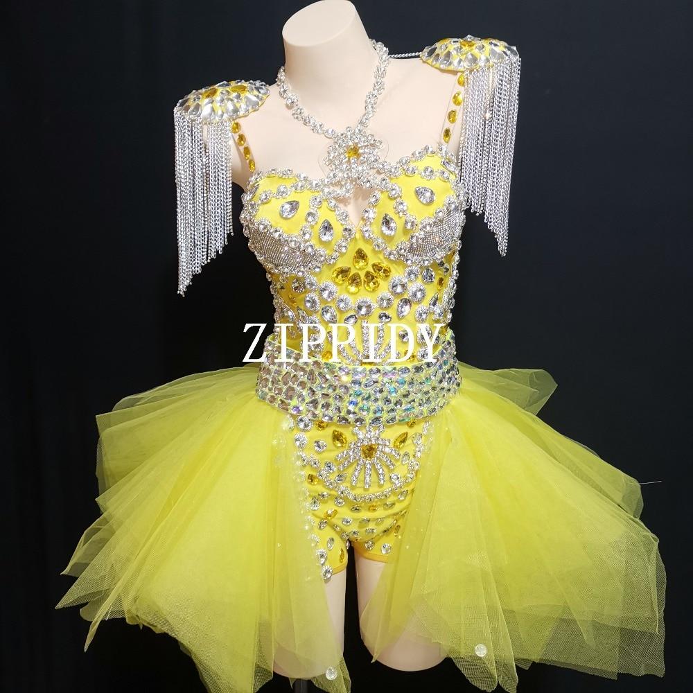 Nouveau Design de mode néon jaune strass tenue justaucorps jupe scène spectacle épaulettes danse porter des chaînes franges ensemble de vêtements