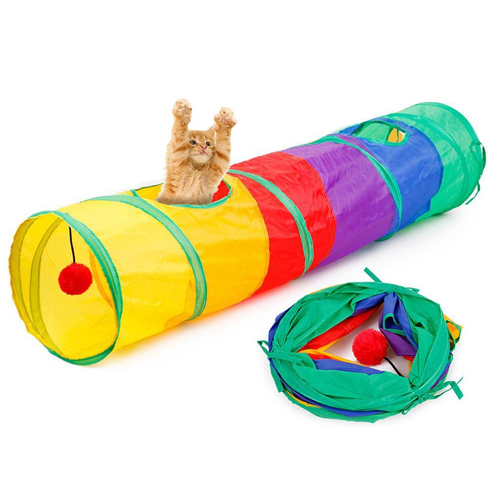 Regenboog Pet Cat Kitten Inklapbare 2 Gaten Tunnel Toy Spelen Buis Met Bal Kleuren Zijn Opvallend