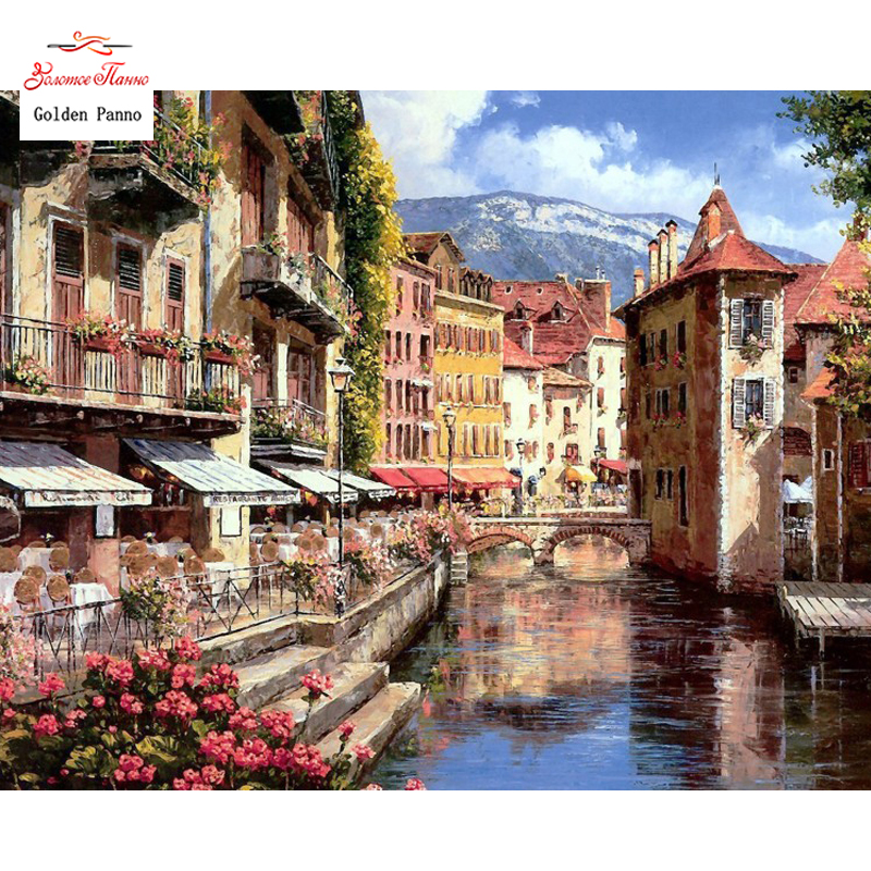 Golden Panno Needlework DIY DMC 14CT 11CT Printed Cross Stitch Embroidery Kits Water Huis White Canvas Counted 20