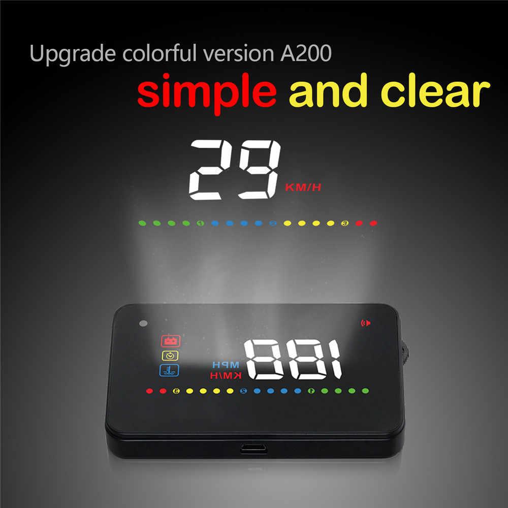 Car OBD2 II carro HUD Cabeça Up Display EUOBD A200 Velocidade alarme Projetor Windshield Auto Alarme de Tensão Eletrônico