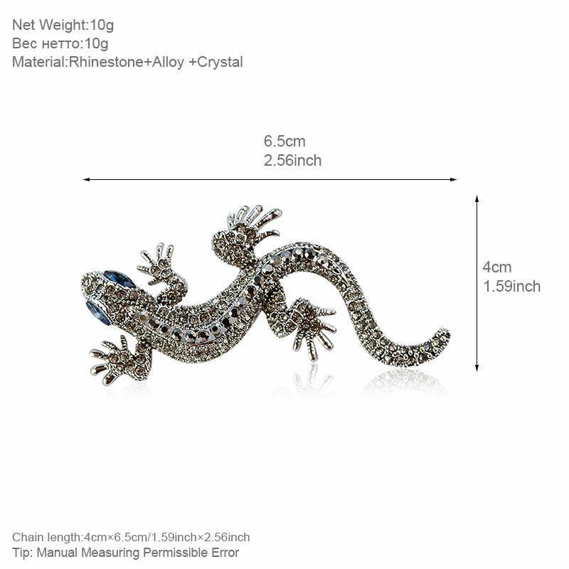 Allyes Kadal Bros untuk Wanita & Pria Retro Kristal Mikro-Mosaiced Vintage Besar Hewan Bros Wanita Perhiasan