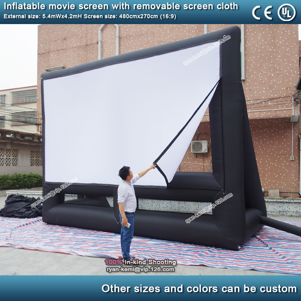 5.4m 16 to 9 outdoor inflatable movie screen with removable screen cloth Portable air screen projector cinema commercial projection screen 2